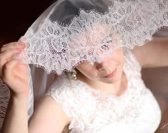 Ivory Lace Wedding Fingertip Veil-Lace and Tulle Drop Veil - Drop Wedding Veil - Lace Wedding Veil - Wedding Veil