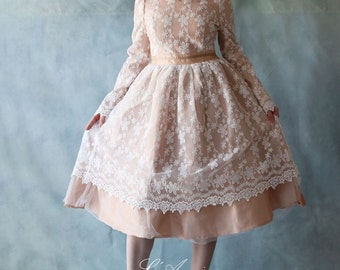 Custom Champagne Alice in the Garden Short Tea Length Lace Wedding Dress with Long Sleeves and Basic Sash- 1915657