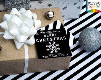Personalized Christmas Gift Tags - Black and White Wishing You A Merry Christmas Snowflake Stripped Backing - Digital Printable Pdf File