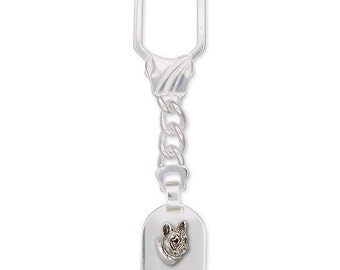 French Bulldog Key Ring Handmade Sterling Silver Dog Jewelry FR5-KR
