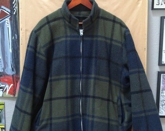 Vintage 50's Woolrich Hunting Jacket Dark Green and Navy Plaid Made in USA 1950's 1960's Hooded Talon Zippers Size 40 42