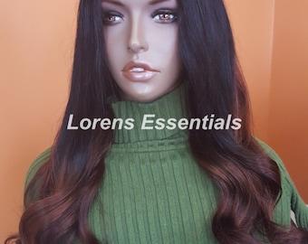 U Part Wig Virgin Brazilian Hair Ombre 1B and Dark Brown  - MARLA