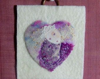 Felted miniature wall hanging, Felt Art, Fibre Art, Vintage additions, 'Florence 6 by Sandie Kerensky