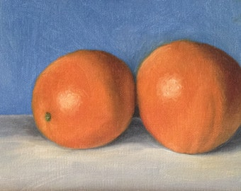"Still life painting: Oranges 6x4"", original oil painting"
