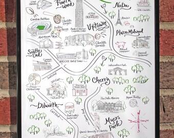 "Charlotte Map Print 11""x17"""