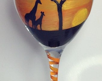 Painted Giraffe Wine Glass