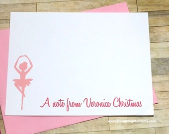 Ballerina Stationery Flat Cards - Personalized Ballet Cards - Girls Stationery Card Set - Ballet Cards - Ballerina Dance Cards