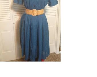 Vintage handmade retro blue dress
