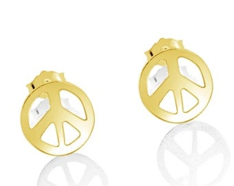 Peace Sign Hippie Symbol Stud Earrings #14K Gold Plated over 925 Sterling Silver #Azaggi E0716G