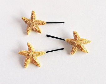 Set of 3 Cute Starfish Mermaid Nautical Bobby Clip Set - Bridal Accessories, Mermaid Hair, Starfish Hair Accessories