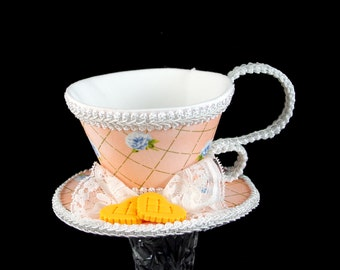 Peach and White Blue Rose Lattice with Heart Cookies Tea Cup Fascinator Hat, Alice in Wonderland Mad Hatter Tea Party, Derby Hat
