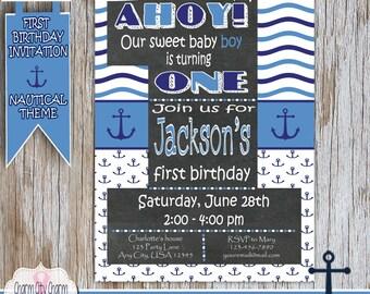 Nautical Boy First Birthday Invitation, Ahoy Birthday Invitation, Anchors Birthday Invitation, First Birthday Nautical Invitation
