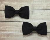 Black Pigtail Hair Bows, Black Bow Hair Clips, Black Bow Clips, Black Hair Clips, Pigtail Bow Clips, Black Pigtail Bows, Girls Bow Clips