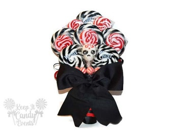 Custom Skull Lollipop Wedding Bouquet, Skull Bouquet, Black and Red Bouquet, Halloween Bouquet, Halloween Wedding ideas, Day of the dead