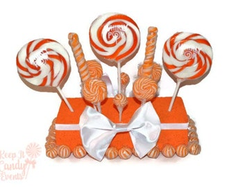 Orange Lollipop Centerpiece,  Orange Candy Centerpiece, Candy Buffet Decor, Fall Wedding Centerpiece, Halloween Wedding, Candy Table