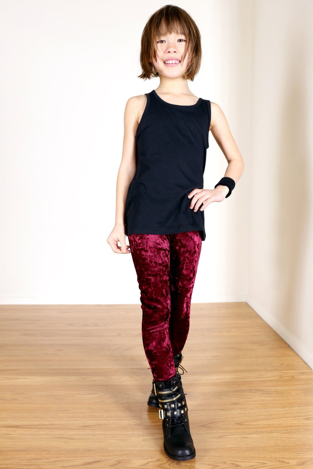 Girls/Kids Crushed Velvet Leggings for Riot Grrrls Little Punks u0026 Goth Kids