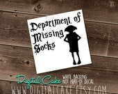 Department of Missing Socks - Dobby - vinyl window decal - exterior window sticker - pick your size