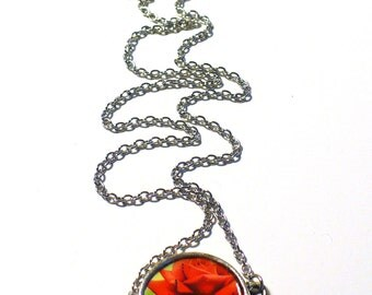 Red Rose Postage Stamp Necklace Eco-design Upcycled Minimalist Canadian Stamp, Floral Jewelry