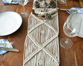 Macrame table runner / wall hanging with natural cotton twine. 70s, minimal, ecological, modern, vintage, boho, bohemian
