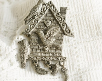 Spoontiques Pewter Birdhouse Brooch Pin - Vintage Signed and Numbered with Three Dangling Charms and Three Birds