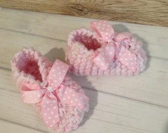 Newborn Handknitted Pink Baby Booties, 0-3 months, Newborn Booties, Reborn Booties, Baby Booties , Booties, Booties, Baby Boy Booties