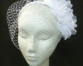 GIGI Headband Cage Veil with Handmade Flowers