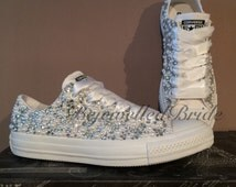 Wedding Converse all white & Fully covered in Crystal + Pearl, added Swarovski, all sizes available