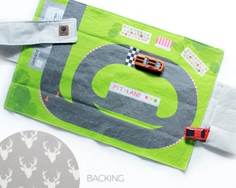 Racetrack Travel Car Mat | Car Play Mat - Buck Forest Backing | Folding Car Mat | Kids Travel Activity