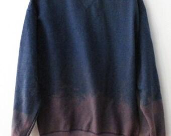 Blue Crewneck Sweatshirt, dip dye crew neck, Purple, acid wash, jumper, tie dye, Grunge, Boho, ombre, graphic