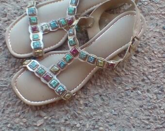 1960's Gold Sandals // Mod Dress Shoes // Size 7