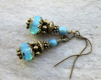 Victorian Earrings Rustic Vintage Unique Boho Earrings Aqua Blue Czech Glass Beads Antiqued Brass Dangles Unique Urban Chic Jewelry