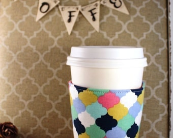 Fabric Coffee Cozy / Colorful Quatrefoil Pattern / Quatrefoil Coffee Cozy / Coffee Cozy / Tea Cozy