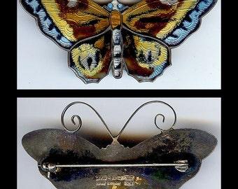 Exquisite large DAVID ANDERSEN NORWAY vintage sterling enamel butterfly pin brooch