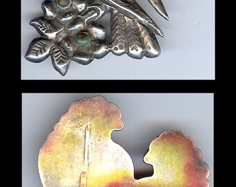 VINTAGE 1940's MEXICO sterling silver love BIRDS or parrot birds brooch pin