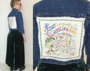 North Carolina Embroidered Back Patch Upcycled Denim Jacket - Medium Jean Jacket with NC Back Patch - Kitschy Carolina Cross Stitch Patch