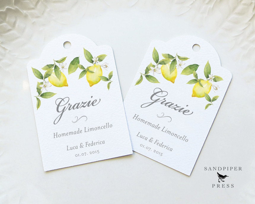 Grazie Limoncello Tags Personalized Gift Tags Wedding Favor