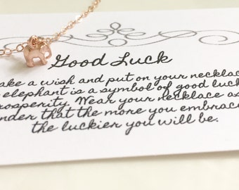 Tiny Rose Gold Elephant Necklace, Gold Charm Necklace, Gold Filled Necklace, Dainty Light Necklace, Good Luck Necklace