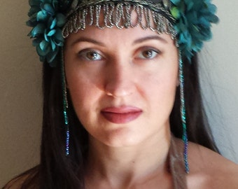 Tribal Fusion Bellydance Headpiece Teal Flowers