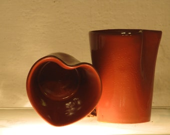 Cordial Cup - heart mug - red - Cup with heart - thrown mugs