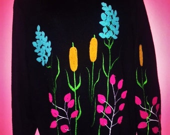 70s Pond Plant Sweater by Cyn Les Shirlee Designs