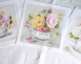 Three cottage chic French floral  fabric panels, victorian bouquets quilt  panels