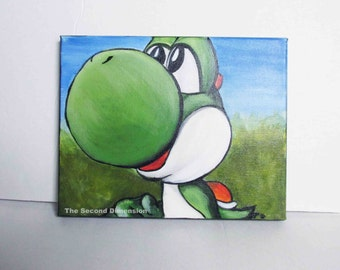"Classic Yoshi Art Painting Acrylics on Stretched Canvas Game 10"" x 8"" Ready To Hang"