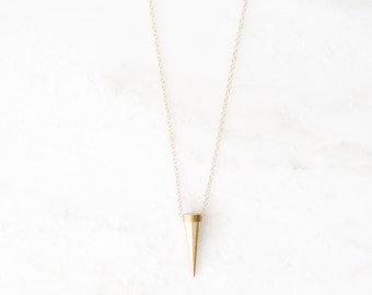 SURRENDER gold spike necklace. long layer necklace. layering necklace. exodus 14:14. gold necklace. gift for her. christian jewelry.