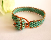 Pearl bracelet bracelet Turquoise Turquoise Super duo threaded stainless unique seed beads TOHO beads