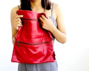 Sale 20% Red leather laptop case , Laptop sleeve , Laptop bag , Laptop shoulder bag , Convertible leather laptop bag
