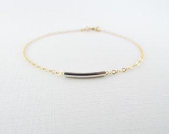 Curved Bar Bracelet, 14kt Gold Filled Bracelet, Gift for Her