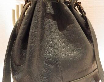 Vintage Phillippe Leather Drawstring Shoulder Bag Dark Forest Green Moc Croc
