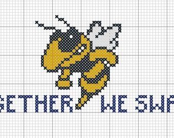 Georgia Tech yellow jacket Buzz Together We Swarm! Instant PDF Download - Needlepoint, Cross Stitch, Perler Charted Pattern Design