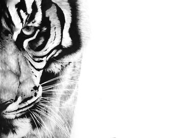 TIGER ART PRINT - bengal tiger painting, tiger oil painting, tiger decor, tiger gift, wildlife art, tiger wall art, tiger lover