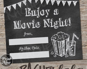 Chalkboard Redbox Code, neighbor movie night gift tag, teacher last minute gift, printable template instant digital download, valentines day